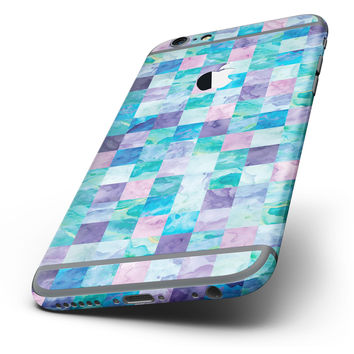 The Blue Pink and Purple Watercolor Patchwork Six-Piece Skin Kit for the iPhone 6/6s or 6/6s Plus