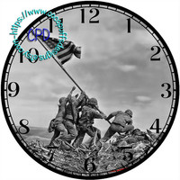 """USMC Marines Corp Black & White of Raising the Flag at Iwo Jima - -DIY Digital Collage - 12.5"""" DIA for 12"""" Clock Face Art - Crafts Projects"""
