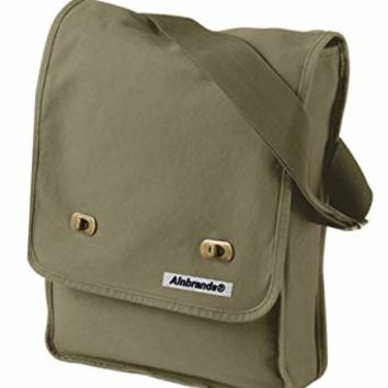 14 oz. Pigment-Dyed Canvas Field Bag by ALNBRANDS (Khaki Green) (Green)
