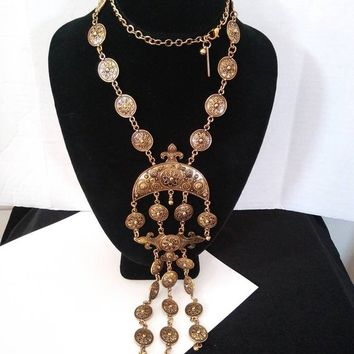 ON SALE Oscar De La Renta Couture Statement Runway Long Necklace, Vintage High End Rare Designer Signed Collectible Costume Jewelry