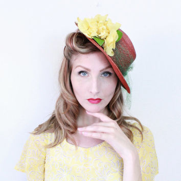 1940s Hat / VINTAGE / Straw / Tilt Hat / Copper / Green / Yellow Flowers / 40s Hat / Back Loop