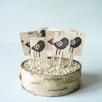 Cupcake Topper Birds  Birch BarkStamped  Rustic by jadenrainspired