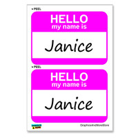 Janice Hello My Name Is - Sheet of 2 Stickers