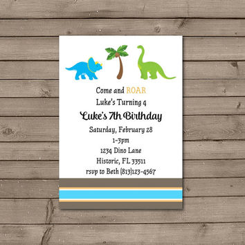 Brown, Blue, and Orange Dinosaur Birthday Party Invitations