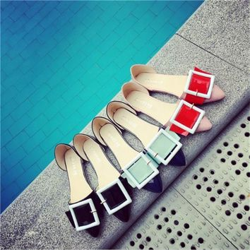 Square buckle flat shoes small pointed candy colored shoes