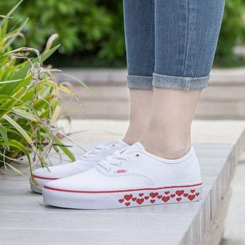 LMFON Design For Valentine's Day Vans AUTHENTIC White Sneaker Leisure Shoes