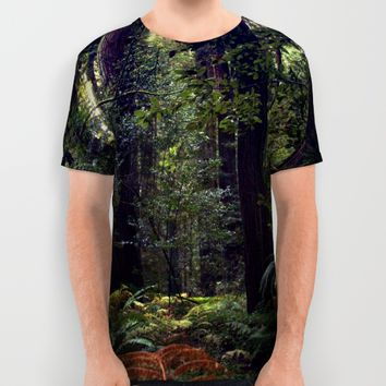 Sunrays in the Redwoods All Over Print Shirt by Amy J Smith Photography | Society6