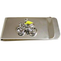 Bicyclist with Yellow Jacket Money Clip
