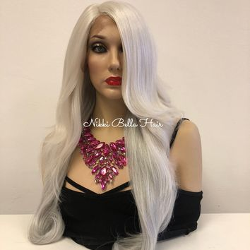 """Silver Gray Lace front Wig 24"""""""