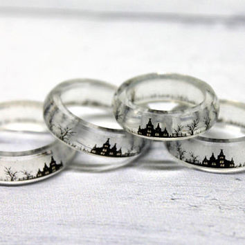 Translucent ring - Gothic Ring - Gothic Jewelry - Castle Ring - Landscape ring - Transparent Handmade  Ring