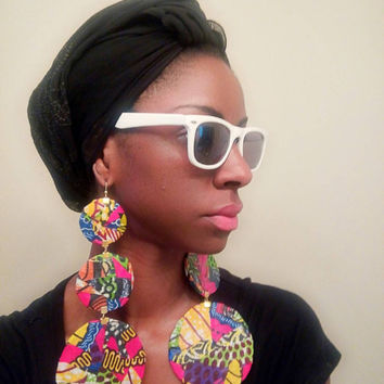 Three tier circle Ankara Dutch wax print African fabric Kitenge Vlisco oversized large statement dangle earrings