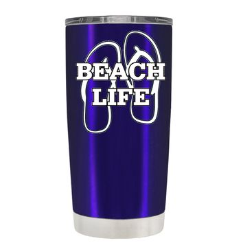The Beach Life Sandals on Intense Blue 20 oz Tumbler Cup