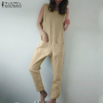 S 5XL ZANZEA Summer Strappy Long Rompers 2019 Women Cotton Linen Overalls Pants Vintage Solid Sleeveless Party Jumpsuits Female