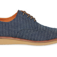 Navy Denim Herringbone Men's Brogues US