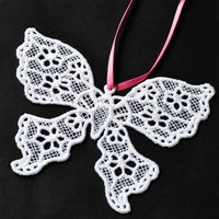 White Lace Butterfly Ornament, Made in USA