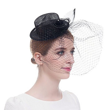 Valdler Womens Girls Flower Feather Mesh Net Sinamay Fascinator Hat with Clip Black
