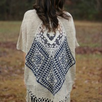Blu Pepper Fringe Cardigan with Crochet Design on Back
