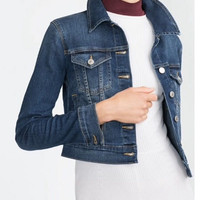 Denim Blue Long-Sleeve Button Collared Jacket