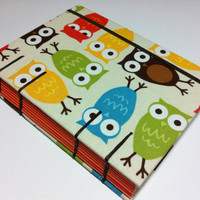 Handmade Fabric Journal Notebook - Coptic Stitched - Colorful Owls