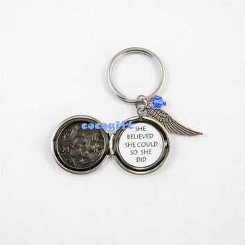 She believed she could so she did Inspiration keychain,Graduation Gift,quote locket keychain,girlfriend gift