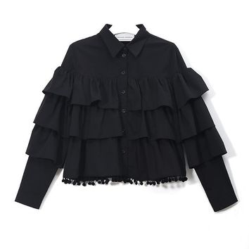 Afranius Ruffle Blouse - Black