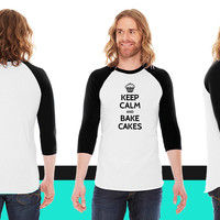 Keep calm and bake cakes American Apparel Unisex 3/4 Sleeve T-Shirt