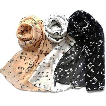 ONETOW 2016 Women Fashion Musical Note Chiffon Neck Scarf Shawl Scarves Long Beauty Women's Scarf