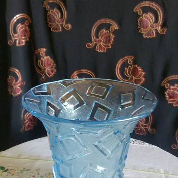 Blue mid century pressed glass vase/ heavy glass bowl/ Anniversary gift/ships from UK