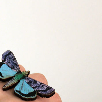 Garden Butterfly Ring Summer Colorful Fashion Ring by mintmoose