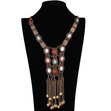 Ethnic Tribal Vintage Colorful Resin Stone Silver Gold Chain Necklace Bohemian Necklaces & Pendants gargantilla PWN0190