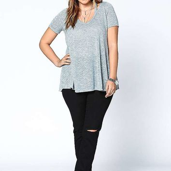 PLUS SIZE STRAPPY MARLED KNIT TEE
