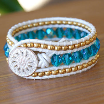 Blue leather wrap bracelet, wide cuff, white, gold, Shabby chic, bohemian surfer glam, trendy, artisan jewelry