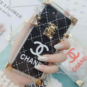Chanel Personality Transparent Jelly Crystal iPhone Phone Cover Case For iphone 6 6s 6plus 6s-plus 7 7plus 8 8plus X White I12269-1