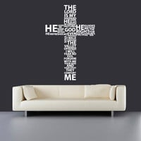 Wall Decal Vinyl Sticker Decals Art Decor Design Cross Jesus Christ God John Psalm Religion Prayer Writing Sign Bedroom Dorm  (r638)