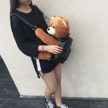 Winter Women/Girls Fashion Leather Backpack Plush Teddy Bear Backpack/School bag fmous brand leisure small backpack bag