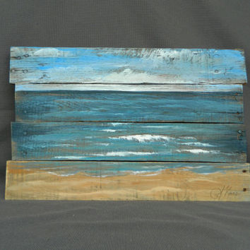 Handpainted Beach Scene, Seascape horizon, ocean and sky, Reclaimed Wood Pallet Art, Rustic and Shabby Chic