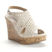 Mudd Pink Crochet Wedge Sandals - Women