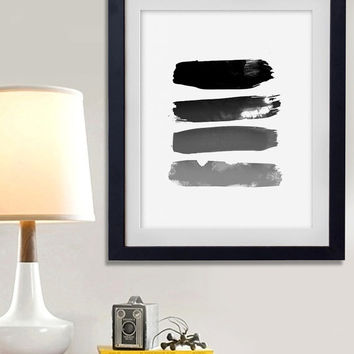 60% OFF SALE Watercolor Stripped Black Grey Digital Art Download Digital Print Canvas Art Print Large Painting Instant Download 8x10
