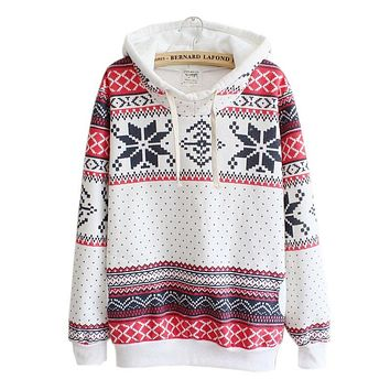 Women Christmas Snow Hoodie Sweatshirt Jumper Sweater Hooded Pullover