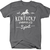 Shirts By Sarah Men's Kentucky State Slogan Shirt Unbridled Spirit T-Shirt Est. 1792