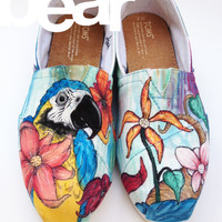 Custom TOMS- Macaw and Flowers