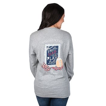 Pearls, Plaid & Play Ball Long Sleeve Tee Shirt in Heather Grey by Lauren James - FINAL SALE