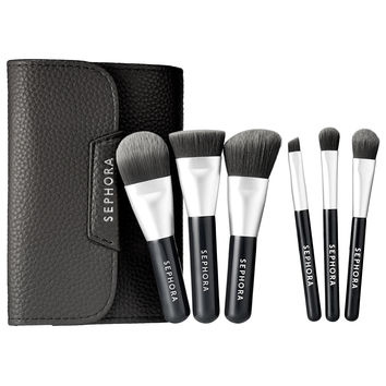Sephora: SEPHORA COLLECTION : Mini Deluxe Charcoal Antibacterial Brush Set : brush-sets-makeup-brushes-applicators-makeup