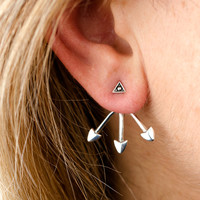 Sterling Silver Ear Jacket Earrings Arrowhead Ear Cuff Earrings Boho Jewelry - EJK006