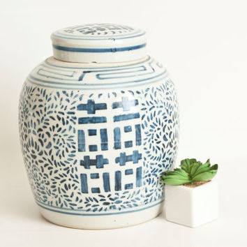 Vintage Chinese Ginger Jar, Double Happiness Chinoiserie Blue and White Container, Double Ring Jar Storage Container Wedding Gift