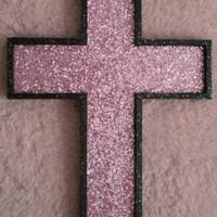 PRINCESS PINK Glitter & Bling Wall Cross - handpainted wood wall cross
