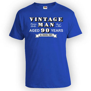 Funny Birthday Shirt 90th Birthday Gift Ideas For Men Personalized T Shirt Bday Present Vintage Man Aged 90 Years Old Mens Tee - BG338