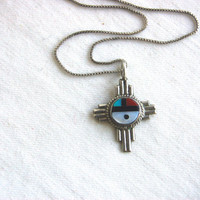 Vintage Zuni Sun Face Necklace Sterling Silver Turquoise Native American Jewelry Tribal Pendant