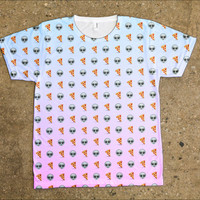 Pastel Emoji Alien Pizza T-Shirt