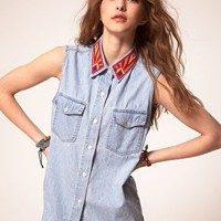 Jervoise Azteca Collar Sleeveless Denim Shirt at asos.com